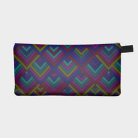 Lavender Blue Geometric Pencil Bag