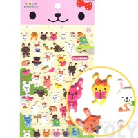 Cartoon Bunny Rabbits and Tortoise Turtle Shaped Animal Themed Puffy Stickers