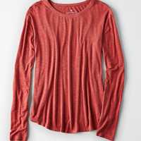 AEO Soft & Sexy Long-Sleeve Favorite T-Shirt, Red