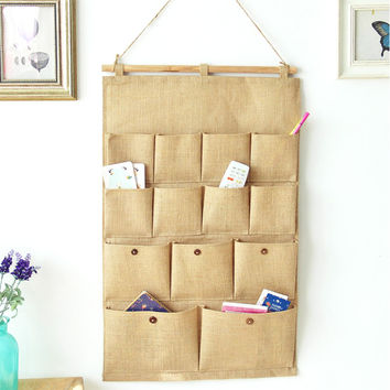 Folding Linen Hanging Organizer Wood Wall Decoration Solid Color 13 Cells Storage Bag For Toys Cards Sundries Clothes Glasses