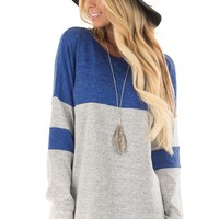 Royal Blue and Heather Grey Color Block Casual Top