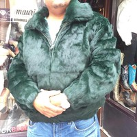 Winter Fur Money Green Rabbit Fur Coat