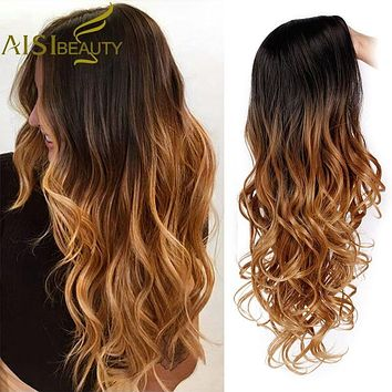 AISI BEAUTY Long Ombre Brown Wavy Wig Blonde Cosplay Synthetic Wigs For Women Glueless Hair Heat Resistant Black Gray Wigs