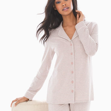 Soma Long Sleeve Notch Collar Pajama Top Ribbon Stripe Pink