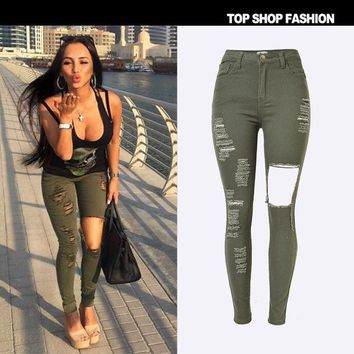 CREYHY3 New 2016 High Waist Jeans Ladies Cotton Denim Pants Stretch Womens Ripped Jeans Skinny Jeans Denim Jeans For Female army green