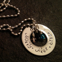 Personalized Mother's necklace with swarovski crystal birthstones