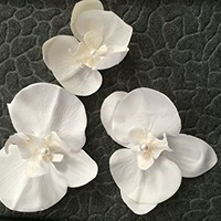 "Set of 3 White Silk Orchid , 4""3.5""3""wedding Cake Flowers, White Bridal Flower Appliqués,bridal Garter Flower"