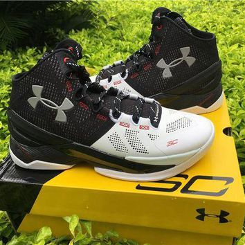 LMFON Under Armour Curry 2 Black White 1259007-652 Basketball shoes