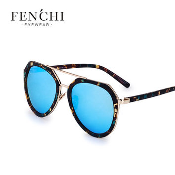 fenchi Double-Bridge pilot Sunglasses Female New Fashion Brand Designer Oval Glasses Summer Style Eyeglasses