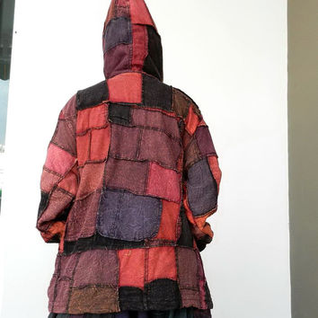 J8,Jacket Hoodie Patchwork, Unique Double Layer,Boho Style 100% Cotton  Stone Washed.