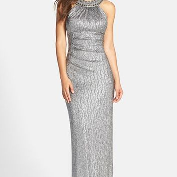 Petite Women's Xscape Embellished Metallic Knit Gown,