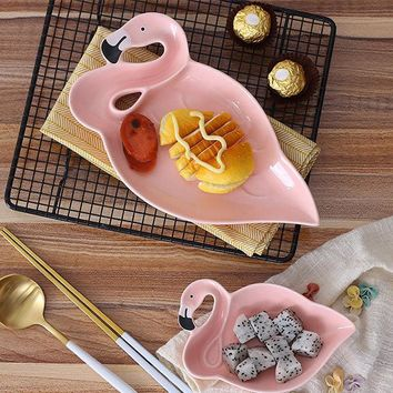 Ceramic Snacks Dish Breakfast Tray Candy Pink Flamingo Shape Dessert Fruit Plate