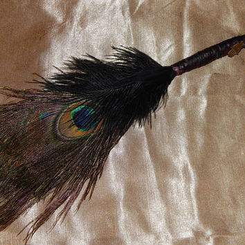 Feather Besom Broom or Smudge Wand - Peacock & Ostrich Feathers w/ Bronze Hamsa Charm - Wiccan Besom - Occult Altar Tools - Decorative Broom