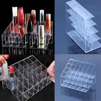 1pcs 24 Clear Display Stand Holder Makeup Lipstick Cosmetic Storage yks