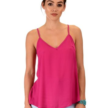 Lyss Loo What's Strap-Pening Cross Back Straps Magenta Tank Top