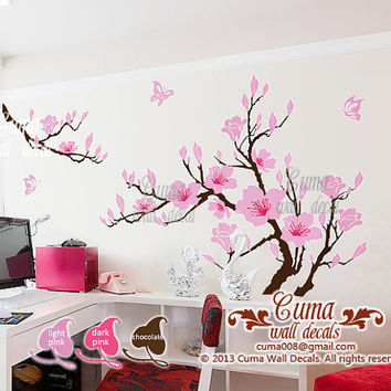 Pink Flower Wall Decals Cherry Blossom Vinyl Wall Decals Tree Office  Wedding Wall Murals Nursery Wall
