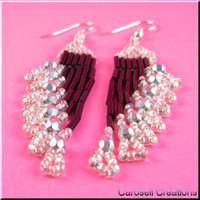 Handmade Earrings Seed Beaded Beadwork Chandiler Ripples in Black and Silver