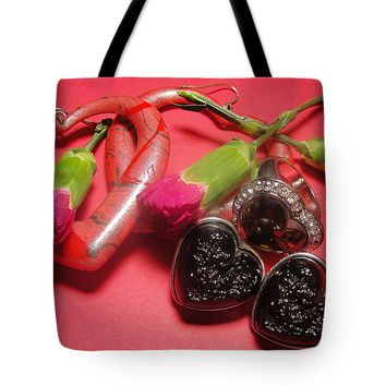 Heart Shaped Jewelry And Pink Flowers Tote Bag