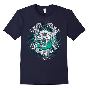 Cool Tattoo Style Horned Demon Devil Skulls Printed T Shirt