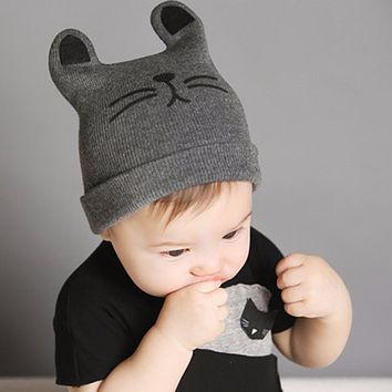 Baby Hats Newborn Cartoon Knitting Cap Toddler Kids Boys Girls Cat Ear Beanie Cap Infant Winter Warm Hat