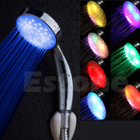 Colorful LED Light Stainless Steel Round Rain Bathroom Shower Head
