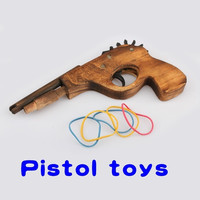 Cool Gifts Wooden Light Single Tube Hand Rubber Band Gun Rifle Pistol Shooter Classic Toy