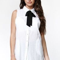 Some Days Lovin Miss Danger Tie Tunic Dress - Womens Dress - White