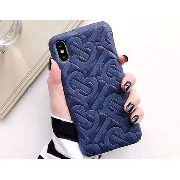Free shipping-Burberry personality versatile iPhone8xsmax phone case #4