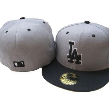 qiyif Los Angeles Dodgers New Era MLB Authentic Collection 59FIFTY Cap Grey-Black LA