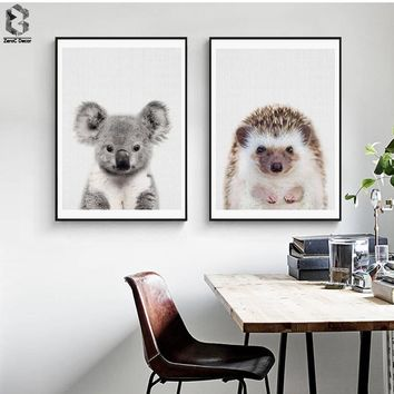 Nordic Cute Art Posters and Prints Koala Wall Art Canvas Painting Hedgehog Wall Pictures For Study Room Home Decor