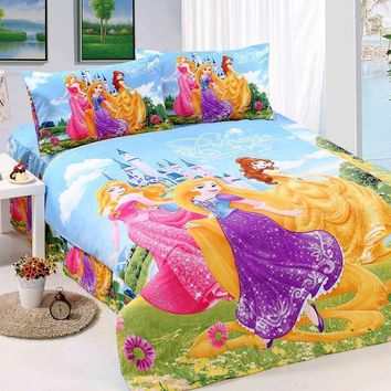 bright color princess bedding sets single twin size bedclothes bed quilt duvet covers sheets childrens Girl's home textile 3pc