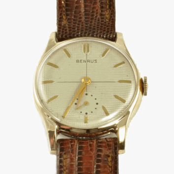 Vintage Men's Wrist Watch - Benrus 1950's Gold Filled - Serviced