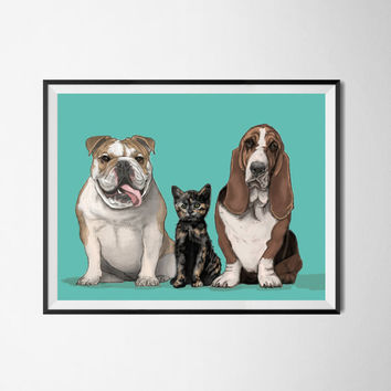 Three or Four pet portraits. Custom portrait from photo. Custom drawing. Christmas gift. Gift for couples. Animals. Gift for.
