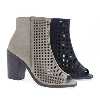 Anajay By Soda, Peep Toe Laser Perforated Chunky Heel Ankle Booties