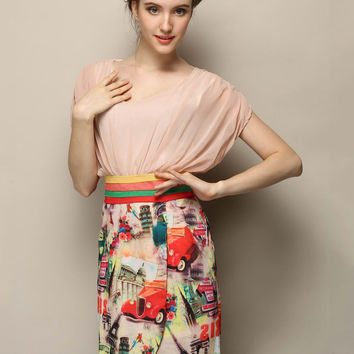 Nude Pink Cartoon Print  V-Neck Short Sleeve Chiffon Blouson Mini Dress