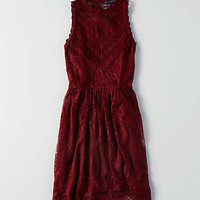 AEO Mock Neck Lace Trim Dress , Burgundy