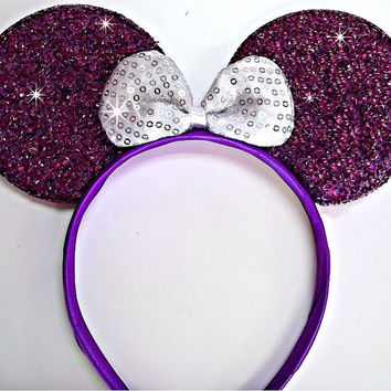 MINNIE MOUSE EARS Headband Purple Sparkle Shimmer white Sequin Bow Mickey