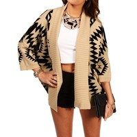 TaupeBlack Tribal Print Knit Sweater