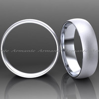 Mens or Womens 14K White Gold Wedding Band, 5.00mm Wide