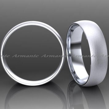 5.00mm Wide Classic Wedding Band, His And Hers Wedding Ring 14k Solid White Gold Wedding Ring
