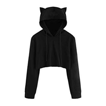 Women Sweatshirt Hooded Long Sleeve Hoodie with Cat Ear Pullover Tops