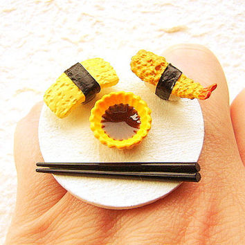 Sushi Ring Japanese Food Jewelry Egg and Shrimp