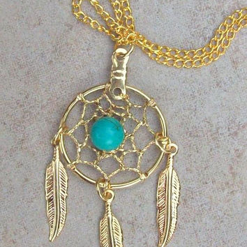 Dream catcher necklace, dreamcatcher in Gold with Turquoise and three feathers, dreamcatcher necklace, dream catcher