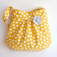 FREE Matching Pin - Gathered Hobo Purse - Mustard Yellow Polka Dot - IN STOCK