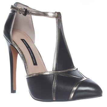 French Connection Candice Platform Ankle Strap Pump Heels - Black Gold