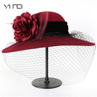 YIFEI Elegant Fashion classic chapeau veil Formal hat Women 100% Wool Felt Hats 1920s Vintage flower Derby Church Bucket hats