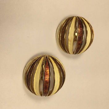 Signed Boucher Earrings - Vintage Vented Sphere Earrings - Mod 1960's - Gold Tone - Clip On Earrings
