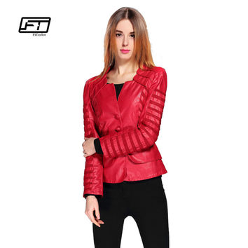 New Fashion Spring Autumn Women Faux Soft Leather Jacket Pu Black Wine Red Zippers Pachwork Long Sleeve Motorcycle Biker Coat