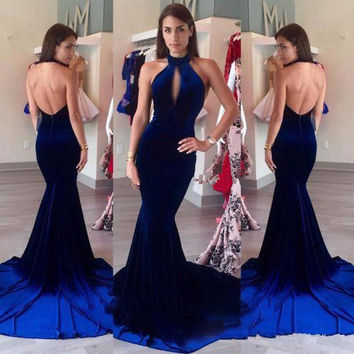 Sexy Backless Velvet Prom Dresses 2017 Halter Keyhole Front Vintage Royal Blue Mermaid Long Formal Party Gowns vestido longo