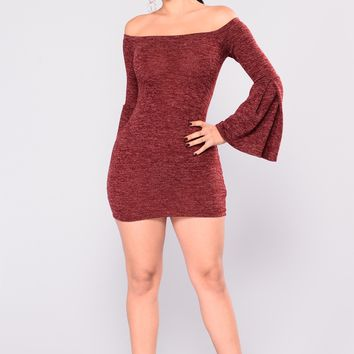 Cheyenne Off Shoulder Dress - Burgundy